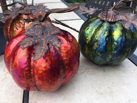 Alcohol inks on galvanized metal. Inked up pumpkins! [Video Tutorial]