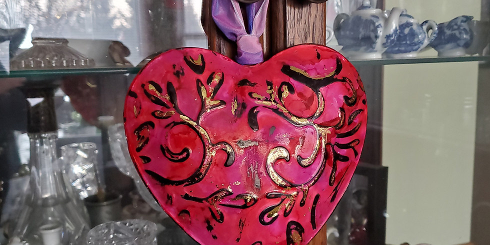 Embossed Metal Heart and Wood Frame