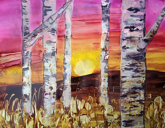 """""""Morning Birches"""", original alcohol ink painting"""