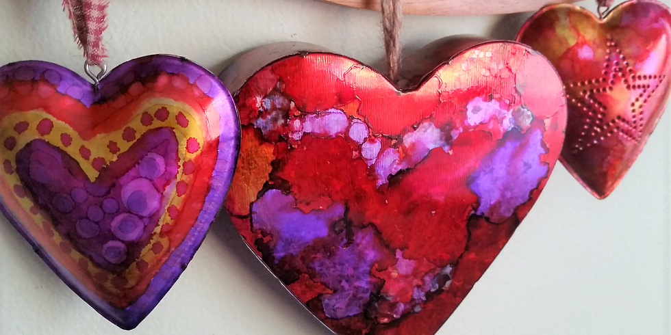 Galvanized Metal Hearts with Alcohol Inks