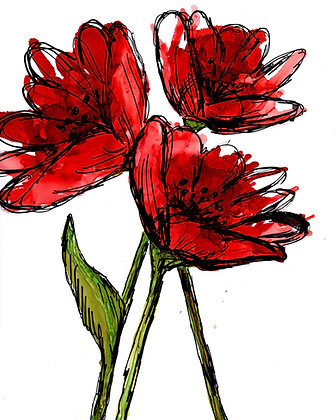 """Red Blooms"" Pen & Ink"