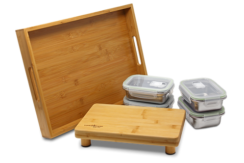 VERSACHOP Quattro - Tray, cutting board and containers with lids