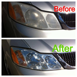 before and after headlight restore silver car