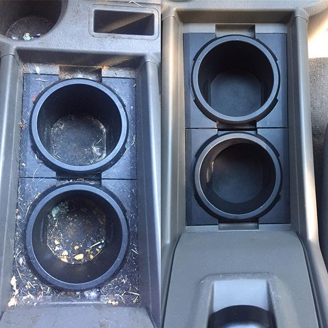 Cup holder sanitization Before and After _#clearshinedetail #fayettevillear #northwestarkansas #mobi