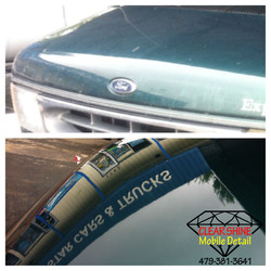 BLue conversion van Paint correction beofre and after with csmd logo