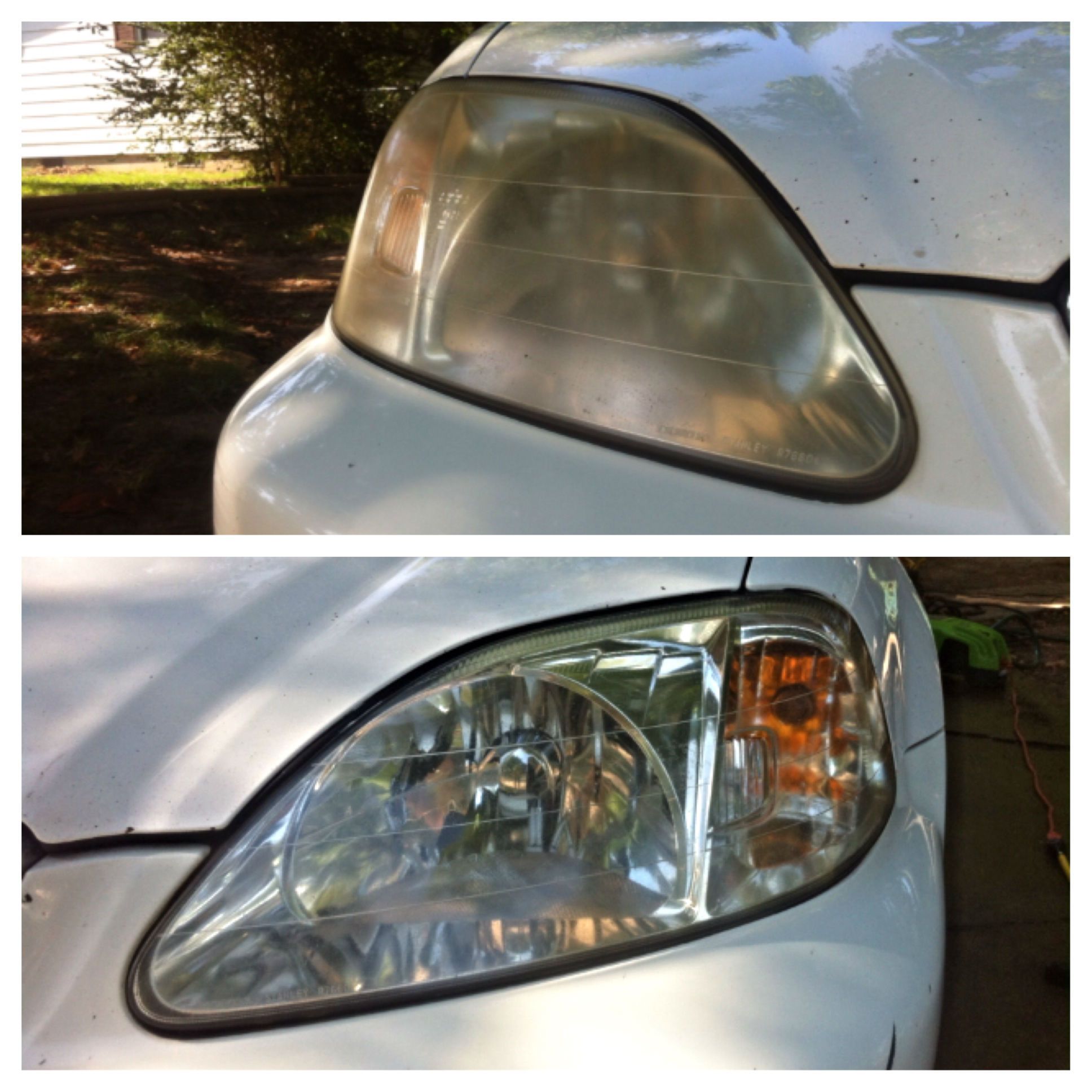 Headlight restoration before and after (1)