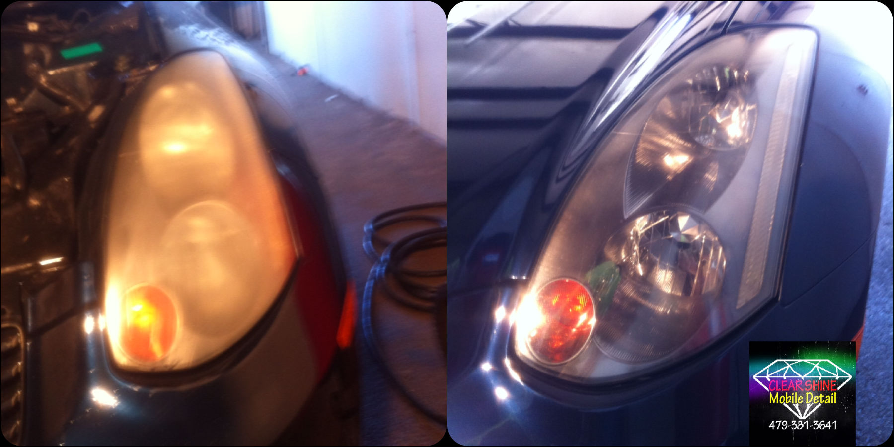 Headlight restoration before and after (2)