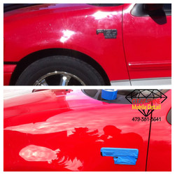 Paint correction wet samd before and after (james red f150)