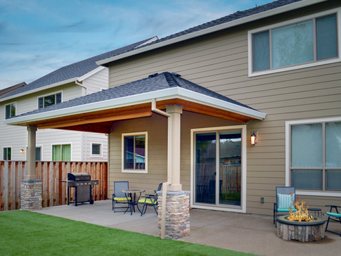Hipped Patio Cover with Fire Pit