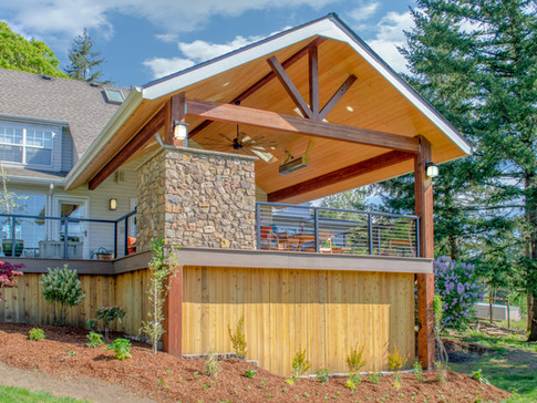 Gable End Patio Cover with Fireplace