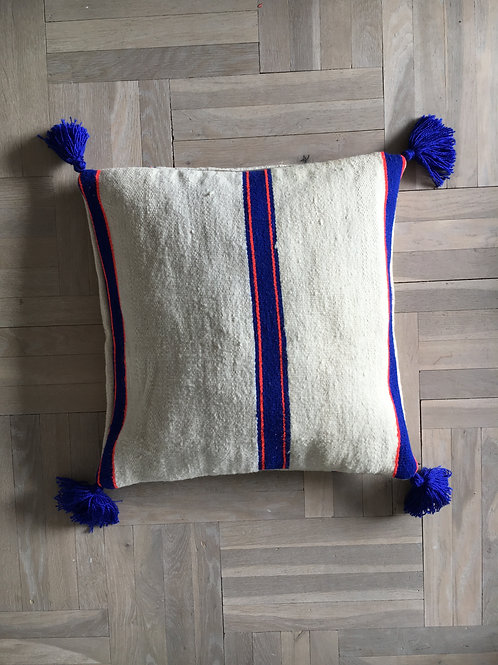 Blue & orange stripe pillow
