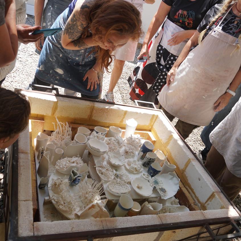 Apertura del horno papel porcelana