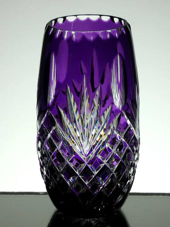 Small purple cased vase hand cut size 5 x 3 inches £45.00