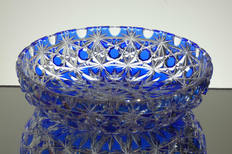 English made blue cased crystal bowl and dish hand cut by Reg Everton cobweb pattern size 8 x 2 inches £95.00 unique