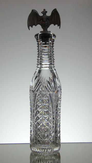 English hand made lead crystal bottle hand cut in church window pattern by Reg Everton size 29 x 7.5 cm £150.00 unique