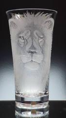 Unique Lion Vase Engraving By Stuart Davis