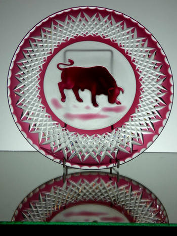 10 inch ruby cased plate hand cut by Reg everton & camero engraved By Lyn Ross £150.00