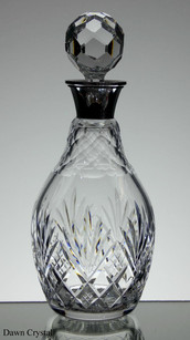 Old english lead crystal wine decanter hand cut with silver top size 10.5 x 4.5 inches £95.00
