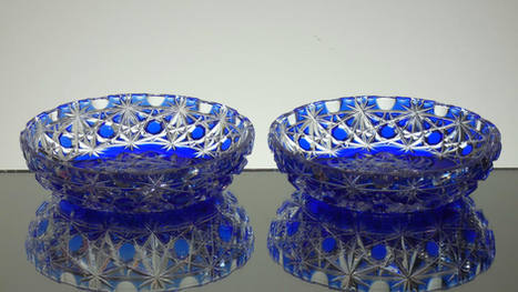 Pair of english made blue cased crystal dishes / ask try's hand cut by Reg Everton cobweb pattern size 6 x 1.5 inches £65.0 each