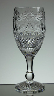 English Hand Made  Full Lead Crystal Wine Glasses Hand Cut In  Beaconsfield Pattern  £35.00 Each Size 19 x 7 cm