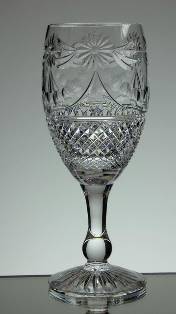 English Hand Made  Full Lead Crystal Wine Glasses Hand Cut In  Beaconsfield Pattern  £35.00 Each Size 19 x 7 cm Limited