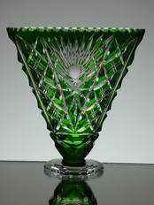 Green Cased Crystal Fan Vase Hand Cut size 6 x 6 x 2 inches £75.00