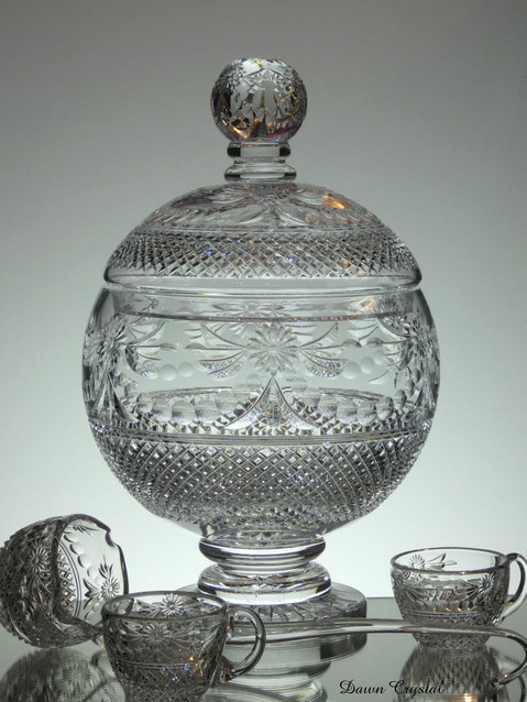 large unique punch bowl set comes with 8 cups and ladle contact us for more information