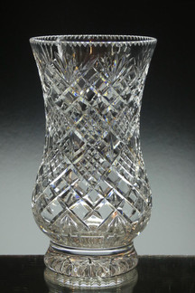 English Hand Made Full Lead Crystal Vase Hand Cut By Reg Everton £75.00 size 8 x 4.5 inches