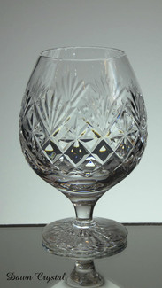 english hand made lead crystal brandy glass hand cut in diamond and fan pattern size 5 x 3.5 inches £21.00 ( 6 only )