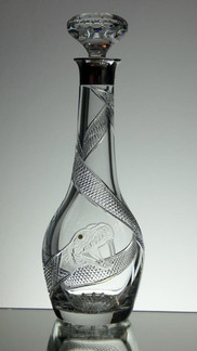 English Hand Made Full Lead Crystal Wine Decanter Hand  Cut & Engraved By Reg And John Everton With Solid Silver Top £250.00 Unique Size 32 x 11 cm