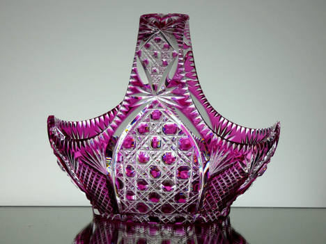 Ruby Cased Crystal Basket Hand Cut size 8 x 5.5 x 7 inches £150.00