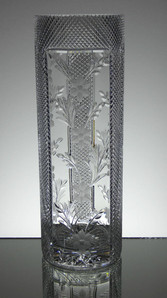 English hand made full lead crystal tall vase hand cut and engraved size 12 x 4 inches £120.00