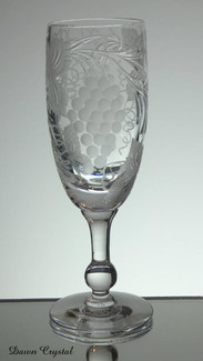 english hand made full lead crystal champagne glass hand engraved grape and vine pattern size 7 x 2.5 inches £25.00 ( only 4 left )