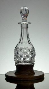 English Hand Made Full Lead Crystal Hoget  Decanter Hand Cut In Hobnail Pattern By Reg Everton With Hand Made Wood Base £250.00 Unique Size 34 x 11 cm