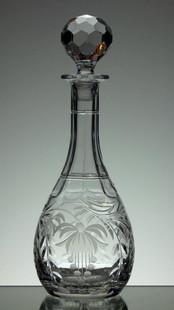 24% Lead Crystal Wine  Decanter Hand Engraved  By Stewart Davis £65.00 Size 33 x 12 cm