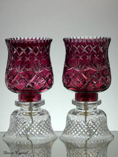 2 ruby cased crystal electric lamps hand cut size 12 x 6 inches £180.00 each