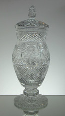 English hand made full lead crystal vase with lid hand cut in the beaconsfield pattern size 42 x 16 cm £450.00 unique