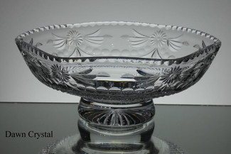 Unique english hand made full lead crystal 6 sides bowl hand cut and engraved size 10 inches wide call for information