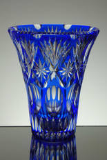 English blue cased crystal vase hand cut size 9 x 7 inches £150.00