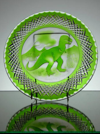 10 inch green cased plate hand cut By Reg Everton & camero engraved By Lyn Ross £150.00