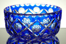 vintage blue cased crystal webb corbetts bowl hand cut size 4 x 9 inches £250.00
