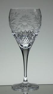 large gin glass 24% lead crystal hand cut & engraved dawn pattern size 22 x 9 cm £30.00 each