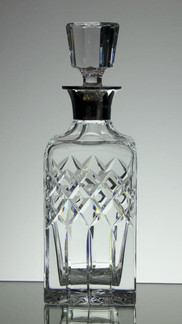 English Hand Made Full Lead  Crystal Whiskey Decanter  Hand Cut With Solid Silver Top £150.00 Size 27 x 9 x 9 cm