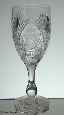 english hand made full lead crystal wine glass hand cut in church window pattern with rose size 7.5 x 2.5 £35.00