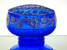 English made blue crystal rose bowl hand cut & engraved with silver roses size 7.5 x 4 inches £95.00 one off