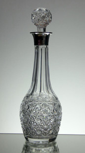 English Hand Made Full Lead Crystal Wine Decanter Hand Cut By Reg Everton Cobweb Pattern With Solid Silver Top £250.00 Size 33 x 11 cm