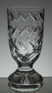 Unique Vase Hand Cut In The Leaf Pattern By Reg Everton Signed Size 10 x 5 inches call for price