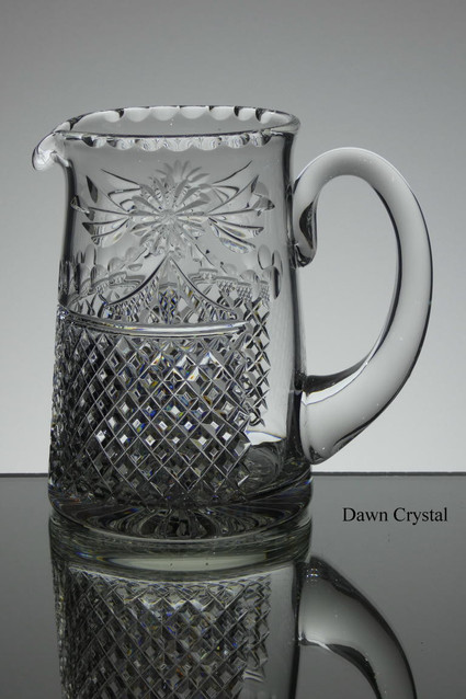 English hand made full lead crystal jug in beaconsfield pattern size 6 x 6.5 inches £120.00