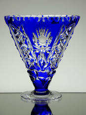 Blue Cased Crystal Fan vase Hand Cut Size 15 x 15 x 5 cm £75.00
