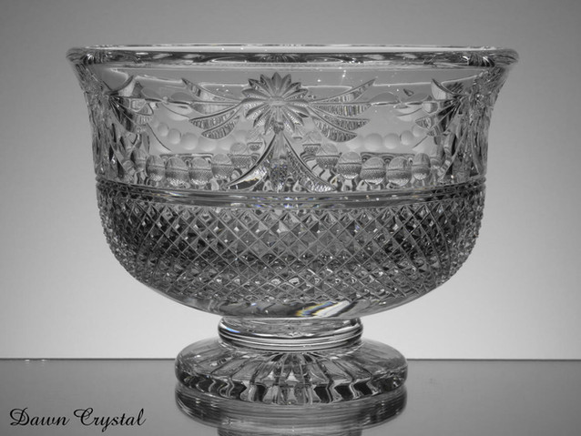 unique english hand made full lead crystal footed bowl size 10 x 7.5 inches £200.00 slight second
